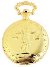 Taschenuhr Weiß Gold Freiheitsstatue New York Quarz D-50742408275350