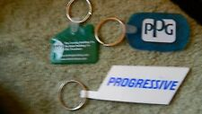 3 DIFFERENT BUSINESS ADVERTISING FLEXIBLE KEYCHAINS VINTAGE FREE USA SHIPPING