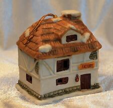 Christmas Village Bell Ornament J.S.N.Y Ceramic Factory House Collectible Gift