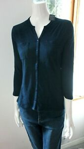 Seasalt V neck 3/4 Sleeves Navy Blue Denim Blouse Top Shirt Tunic 10 12 14 16 18