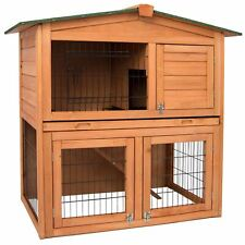 Pet Rabbit Hutch Wooden 2 Tier Cage Guinea Pig Bunny Run Ferret Animal House