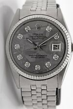 $12,000 METEORITE Diamond Genuine ROLEX Datejust 18k Gold SS Mens Watch WTY BOX