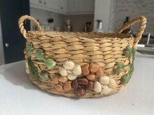 Vintage Round Woven Rattan Bowl Fruit Bread Basket Cottagecore Embroidered