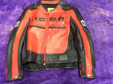 ICON Motorhead Padded Motorcycle Jacket Leather Red XXL 50-52