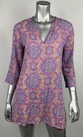 J.Crew Womens Tunic Top XS Multicolor Geo V-neck 3/4 Sleeve Cover up Oriental