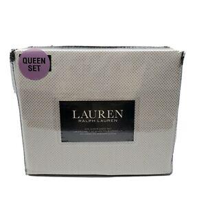Lauren Ralph Lauren 4 Piece White Tiny Brown Tan Plus Signs Queen Sheet Set