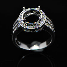 8.0mm Round Cut Solid 14k 585 White Gold Natural Diamond Semi Mount Ring