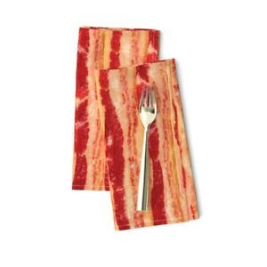 Bacon Stripes Slabs Slices Cooked Cotton Dinner Napkins by Roostery Set of 2