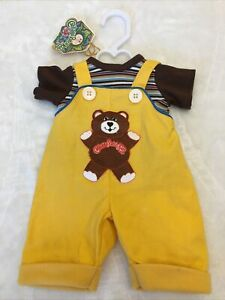 Vintage Cabbage Patch Kids Clothes Doll CPK Outfit Overalls Bear Yellow Rare
