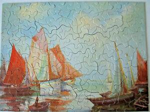 Vintage Masterpiece Picture Puzzle #4115 Old World Sails 204pc Complete, 1940's