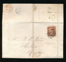 GB QV LONDON INLAND OFFICE 22 + EARLY DUPLEX in RED + THIMBLE in BLUE 1858