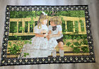 Vintage Classic Tapestry Of Boy and Girl In Garden 54x38 Wall Hanging Patio