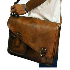 Real leather messenger shoulder laptop handmade brown vintage retro satchel bag