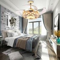 "42"" Fan Light Remote Control LED Crystal Chandeliers Ceiling Fan For 10m2 -15m2"