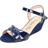 Comfort Plus Wide Fit Slingback Wedge Heel Open Toe Patent Suede Shoes Sandals