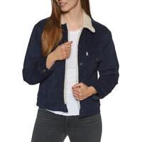 Levis Sherpa Womens Corduroy Vintage Trucker Jacket Color Navy Blue 361370028