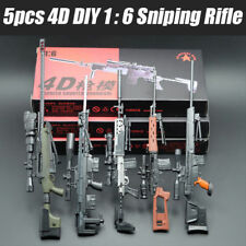 5PCS DIY Weapon Gun 4D Assembled Sniping Rifle Firearms Series 1/6 PVC Model Kit