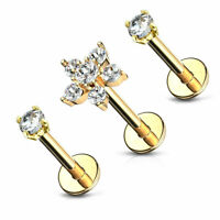 Double Tiered 16G 6 CZ Flower Gold Tone Stainless Triple Helix Earrings Jewelry