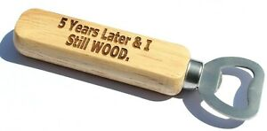 5th Anniversary Traditional Wooden Bottle Opener 5 Years Gift Husband Wife