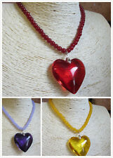 Fab Heart &Teardrop Shaped Glass Pendant Necklace- Choose From 13 Colours
