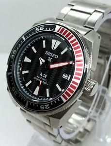 Seiko Black Samurai Custom mod 4R36A Day Date Diver's Automatic Men's Watch 8765