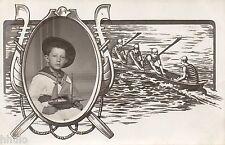 BJ510 Carte Photo vintage card RPPC enfant bateau déguisement marin costume