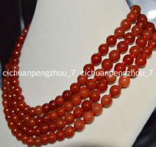 Stunning pretty 4 rows natural red chalcedony agate round gems beads necklace