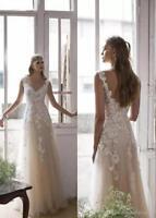 Boho Beach Wedding Dress Tulle Lace White/ivory Bridal Gown Custom 2-4-6-8-10+++