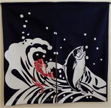 """Japanese Indigo Noren Curtain Doorway Room Divider Fish Print/ 37""""W x 36""""L"""