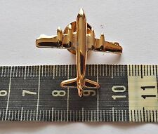 VINTAGE AIRPLANE GOLD TONE METAL COSTUME LAPEL BROOCH BADGE
