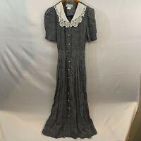 Miss Dorby Womens Black Polka Dot V Neck Short Sleeve Long Maxi Dress Size 10