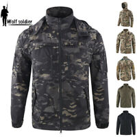 ESDY Mens Army Military Jacket Tactical Casual Coats Multi Pocket Hooded Camo