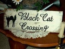 Primitive Halloween Sign Black Cat Crossing Great Sign!