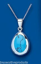 Turquoise Pendant Turquoise Necklace Solid Sterling Silver Pendant and Chain