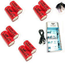 Charger + 8 C Size 9500mAh Rechargeable Battery RED US