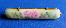 Roses on Porcelain - Unique Antique Bar Pin with Hand Painted