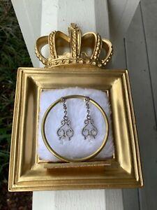Genuine Pandora Silver ALE Regal Fancy Dangling Briolette Earrings NWOT Weddings