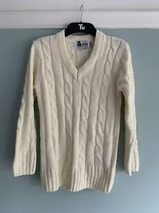 Gunn & Moore GM Cricket Medium Junior/Boys Sweater Jumper Whites Cable Knit Used