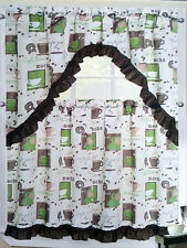 NWT COFFEE CUP BEAN GEO KITCHEN WINDOW CURTAIN 3 PC SET TIERS SWAG VALANCE GREEN
