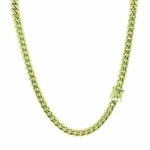 10mm Men Miami Cuban Link Chain Real 14k Yellow Gold Over SS DOESNT CHANGE COLOR