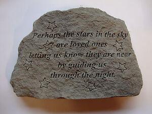 Family Memorial Garden Stone Plaque Grave Marker Ornament Stars in Sky FREE P&P