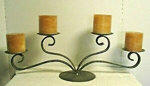 vtg Wrought Iron Pillar Candle center piece tabletop candelabra distressed gray