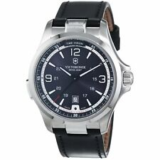 Men's Victorinox Swiss Army 241664 Night Vision Black Leather Band Watch