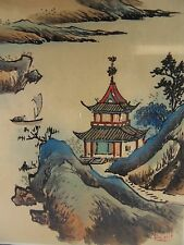Traditional Chinese painting Colour Mountain on Silk