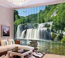 Flying Bird Waterfall 3D Curtain Blockout Photo Printing Curtains Drape Fabric