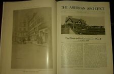The American Architect 1910, Jan-June, 26 weekly's hard bound . Illustrated.