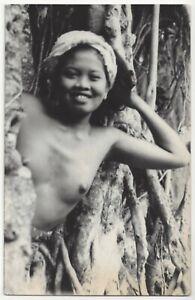 1930's Youthful, Pretty & Topless Bali Girl, Southeast Asia REAL PHOTO Postcard