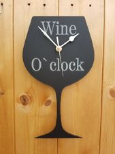 WINE GLASS CLOCK WINE O`CLOCK FUN CLOCK FOR SHED PUB BAR GAMES ROOM KITCHEN