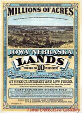 Land For Sale in Iowa & Nebraska - 1872 - Historic Advertising Print