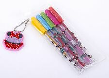 Stationery Minnie Mouse 2x Packs Of 5 Mini Glitter Gel Pens With Key Ring